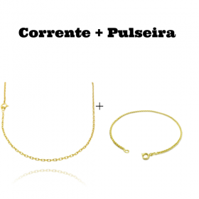 kit Corrente Carrier Cadeado 2mm 60cm (Fecho Tradicional) + Pulseira Peruana 2mm (Fecho Tradicional)