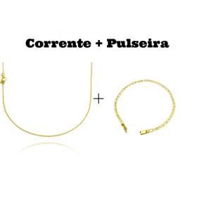 kit Corrente Carrier Cadeado 2mm 70cm (Fecho Tradicional) + Pulseira Piastrine 3,3mm (Fecho Gaveta)