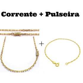 kit Corrente Carrier Cadeado 4mm 70cm (24,8g) (Fecho Canhão) + Pulseira 3 por 1 1,6mm (Fecho Tradicional)