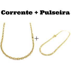 kit Corrente Carrier Cadeado 4mm 70cm (24,8g) (Fecho Canhão) + Pulseira 3 por 1 2mm (Fecho Tradicional)