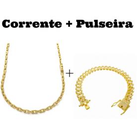 kit Corrente Carrier Cadeado 4mm 70cm (24,8g) (Fecho Canhão) + Pulseira Cuban Link Cravejada em Zircônia 10mm (23,6g)