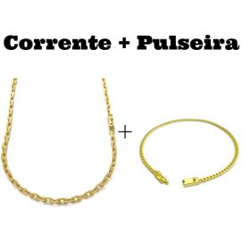 kit Corrente Carrier Cadeado 4mm 70cm (24,8g) (Fecho Canhão) + Pulseira Grumet 2,8mm (Fecho Gaveta)