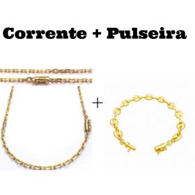 kit Corrente Carrier Cadeado 4mm 70cm (24,8g) (Fecho Canhão) + Pulseira Gucci Link 8mm (9,4g) (Fecho Canhão)