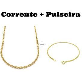 kit Corrente Carrier Cadeado 4mm 70cm (24,8g) (Fecho Canhão) + Pulseira Peruana 2mm (Fecho Tradicional)