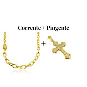 kit Corrente Carrier Cadeado 8,2mm 60cm (35g) (Fecho Gaveta Duplo) + Pingente Crucifixo Catedral Cravejado em Zircônia 14g (5,2x3,2cm)