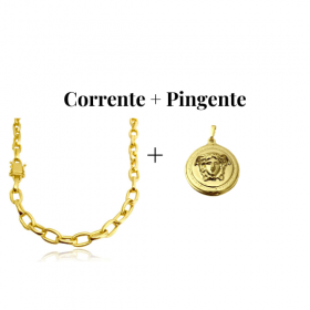 kit Corrente Carrier Cadeado 8,2mm 60cm (35g) (Fecho Gaveta Duplo) + Pingente Medusa 2,9cm X 2,9cm (12g)