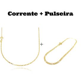 kit Corrente Carrier Cubinho 1,5mm 60cm (Fecho Tradicional) + Pulseira 3 por 1 2mm (Fecho Tradicional)Pulseira 3 por 1 2mm (Fecho Tradicional)