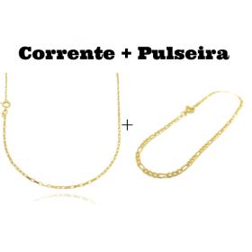 kit Corrente Carrier Cubinho 1,5mm 70cm (Fecho Tradicional) + Pulseira 3 por 1 2mm (Fecho Tradicional)