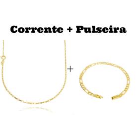 kit Corrente Carrier Cubinho 1,5mm 70cm (Fecho Tradicional) + Pulseira 3 por 1 4,5mm (Fecho Gaveta)