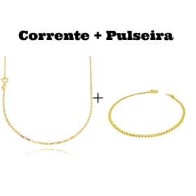 kit Corrente Carrier Cubinho 1,5mm 70cm (Fecho Tradicional) + Pulseira Cadeado Duplo 2,8mm (Fecho Gaveta)