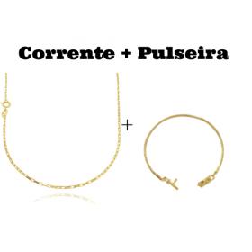 kit Corrente Carrier Cubinho 1,5mm 70cm (Fecho Tradicional) + Pulseira Cadeado Duplo 3,5mm (Fecho Gaveta)