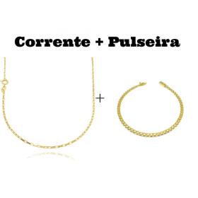 kit Corrente Carrier Cubinho 1,5mm 70cm (Fecho Tradicional) + Pulseira Cadeado Duplo 3,5mm (Fecho Gaveta) (Banho Ouro 24k)