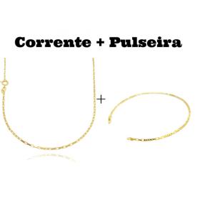 kit Corrente Carrier Cubinho 1,5mm 70cm (Fecho Tradicional) + Pulseira Carrier Cubinho 3 por 3 1,5mm (Fecho Tradicional)
