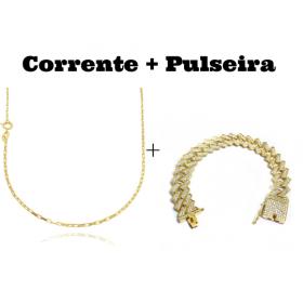 kit Corrente Carrier Cubinho 1,5mm 70cm (Fecho Tradicional) + Pulseira Cuban Link Retangular Cravejada em Zircônia 14mm (32,1g)