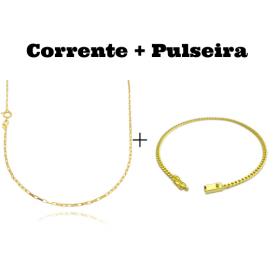 kit Corrente Carrier Cubinho 1,5mm 70cm (Fecho Tradicional) + Pulseira Grumet 2,8mm (Fecho Gaveta)