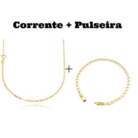 kit Corrente Carrier Cubinho 1,5mm 70cm (Fecho Tradicional) + Pulseira Grumet Aberta 3,5mm (Fecho Gaveta)