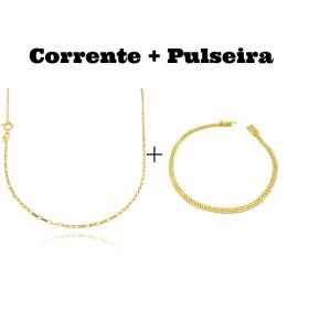 kit Corrente Carrier Cubinho 1,5mm 70cm (Fecho Tradicional) + Pulseira Grumet Union 3,3mm (Fecho Gaveta)