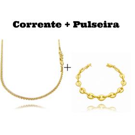kit Corrente Carrier Cubinho 1,5mm 70cm (Fecho Tradicional) + Pulseira Gucci Link 8mm (9,4g) (Fecho Canhão)