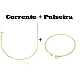 kit Corrente Carrier Cubinho 1,5mm 70cm (Fecho Tradicional) + Pulseira Piastrine 2mm (Fecho Tradicional)