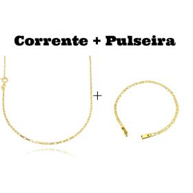 kit Corrente Carrier Cubinho 1,5mm 70cm (Fecho Tradicional) + Pulseira Piastrine 3,3mm (Fecho Gaveta)