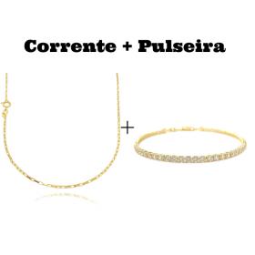kit Corrente Carrier Cubinho 1,5mm 70cm (Fecho Tradicional) + Pulseira Riviera Pedras de Zircônia 3mm (Fecho Canhão)