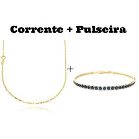 kit Corrente Carrier Cubinho 1,5mm 70cm (Fecho Tradicional) + Pulseira Riviera Pedras de Zircônia Azul 3mm 7g (Fecho Canhão)