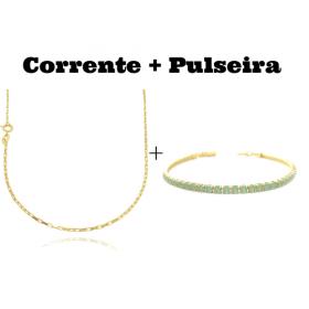 kit Corrente Carrier Cubinho 1,5mm 70cm (Fecho Tradicional) + Pulseira Riviera Pedras de Zircônia Verde 3mm 7g (Fecho Canhão)