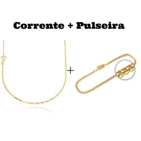 kit Corrente Carrier Cubinho 1,5mm 70cm (Fecho Tradicional) + Pulseira Veneziana 2,8mm 7g (Fecho Canhão)