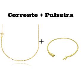 kit Corrente Carrier Cubinho 1,5mm 70cm (Fecho Tradicional) + Pulseira Veneziana 2mm 6g (Fecho Canhão)