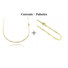 kit Corrente Carrier Cubinho 3 Por 3 1,5mm 60cm (Fecho Tradicional) + Pulseira Cartier Cubinho 3 por 3 1,5mm (Fecho Tradicional)