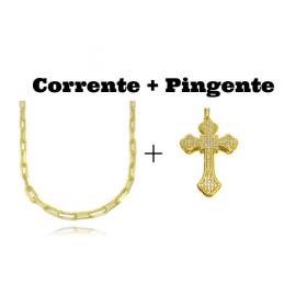 kit Corrente Carrier Diamantada 5mm 60cm 25g (Fecho Canhão) + Pingente Crucifixo Catedral Cravejado em Zircônia 14g (5,2x3,2cm)