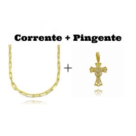 kit Corrente Carrier Diamantada 5mm 60cm 25g (Fecho Canhão) + Pingente Crucifixo Cravejado (4,5cmX2,9cm) (7g)