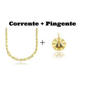 kit Corrente Carrier Diamantada 5mm 60cm 25g (Fecho Canhão) + Pingente Medalha Nossa Senhora Cravejado (3,9cmX3,6cm) (9,2g)