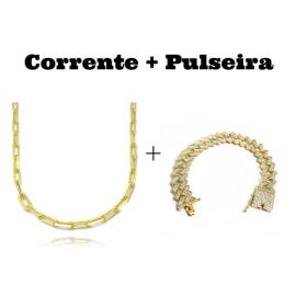 kit Corrente Carrier Diamantada 5mm 60cm 25g (Fecho Canhão) + Pulseira Cuban Link Retangular Cravejada em Zircônia 14mm (32,1g)