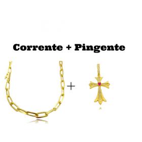 kit Corrente Carrier Diamantada 6,5mm 60cm (34,5g) (Fecho Canhão)  + Pingente Crucifixo c/ Pedra Central Vermelha Cravejado em Zircônia (4,5cmX2,9cm) (7,1g)