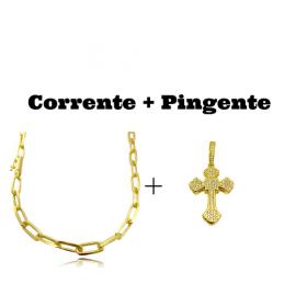 kit Corrente Carrier Diamantada 6,5mm 60cm (34,5g) (Fecho Canhão) + Pingente Crucifixo Catedral Cravejado em Zircônia 9,5g 4,3cm X 2,9cm