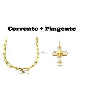 kit Corrente Carrier Diamantada 6,5mm 60cm (34,5g) (Fecho Canhão) + Pingente Cruz Com Pedras Quadradas (8g) (3,3cm X 2,6cm)