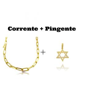 kit Corrente Carrier Diamantada 6,5mm 60cm (34,5g) (Fecho Canhão) + Pingente Estrela de Davi Cavejado em Zircônia (3,2cmX3,2cm) (Banho Ouro 24k)
