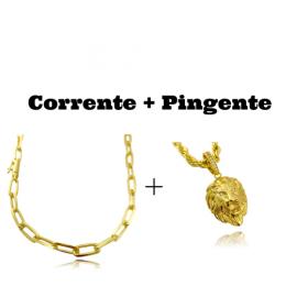 kit Corrente Carrier Diamantada 6,5mm 60cm (34,5g) (Fecho Canhão) + Pingente Leão Maciço 3,0x2,2cm (17g)