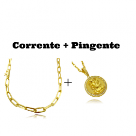 kit Corrente Carrier Diamantada 6,5mm 60cm (34,5g) (Fecho Canhão) + Pingente Medalha Rosto de Cristo Cravejado 3D (4cmX3,5cm)
