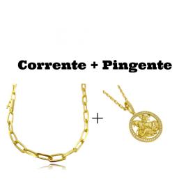 kit Corrente Carrier Diamantada 6,5mm 60cm (34,5g) (Fecho Canhão) + Pingente Medalha São Jorge Vazado Cravejado (4cmX3,6cm) (11g)