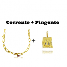 kit Corrente Carrier Diamantada 6,5mm 60cm (34,5g) (Fecho Canhão) + Pingente Placa Nossa Senhora Aparecida Cravejada 1 (3,6cmX2,6cm) (9,9g)