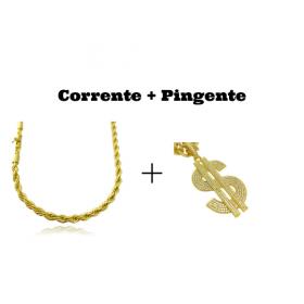 kit  Corrente Cordão Baiano 5mm 60cm 41g (Fecho Canhão) + Pingente Cifrão $ Cravejado em Zircônia (Dourado) 4,6cm X 2,9cm 9g
