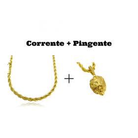kit Corrente Cordão Baiano 5mm 60cm 41g (Fecho Canhão) + Pingente Leão Maciço 3,0x2,2cm (17g)