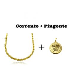 kit Corrente Cordão Baiano 5mm 60cm 41g (Fecho Canhão) + Pingente Medusa 2,9cm X 2,9cm (12g)