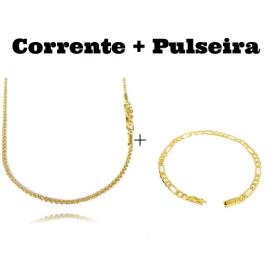 kit Corrente Cordão Baiano Diamantado 2mm 70cm 9,5g (Fecho Canhão) + Pulseira 3 por 1 4,5mm (Fecho Gaveta)