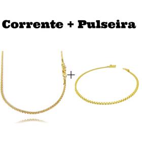 kit Corrente Cordão Baiano Diamantado 2mm 70cm 9,5g (Fecho Canhão) + Pulseira Cadeado Duplo 2,8mm (Fecho Gaveta)