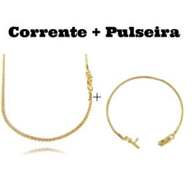kit Corrente Cordão Baiano Diamantado 2mm 70cm 9,5g (Fecho Canhão) + Pulseira Cadeado Duplo 3,5mm (Fecho Gaveta)