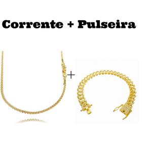 kit Corrente Cordão Baiano Diamantado 2mm 70cm 9,5g (Fecho Canhão) + Pulseira Cuban Link Cravejada em Zircônia 10mm (23,6g)
