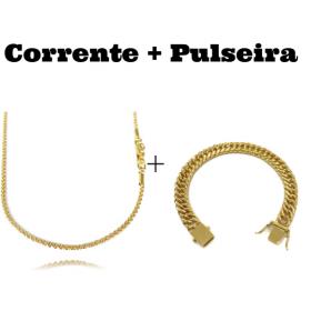 kit Corrente Cordão Baiano Diamantado 2mm 70cm 9,5g (Fecho Canhão) + Pulseira Double Grumet 10mm 24g (Fecho Gaveta)